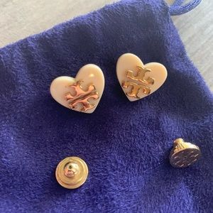 Tory Burch cream and gold heart logo earrings